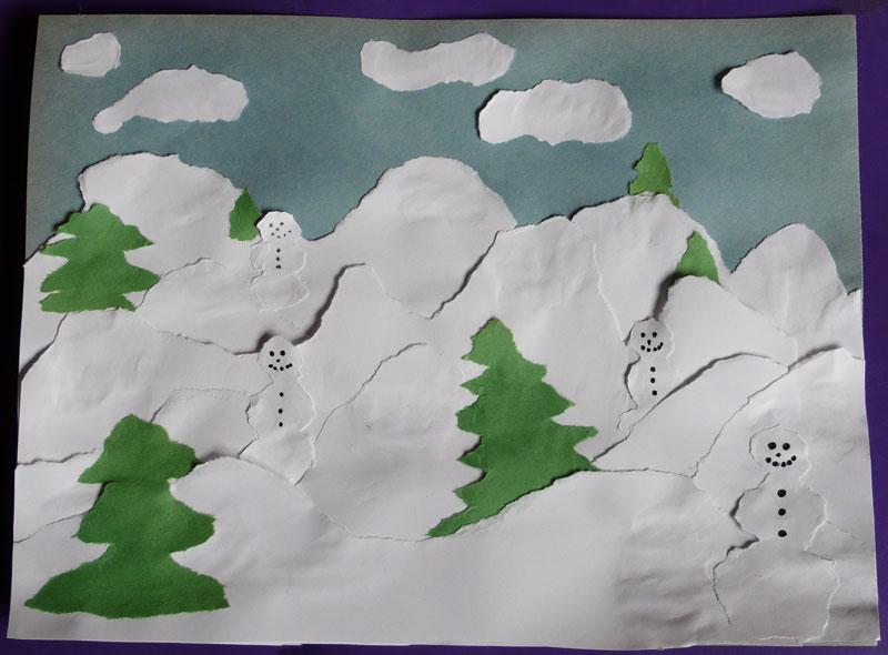 ripped paper art  u2013 snowmen  mountains and evergreens