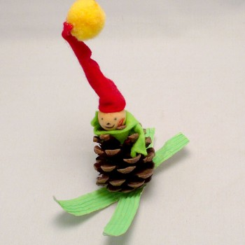 Pinecone Skiier Ornament